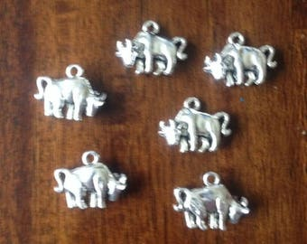Set of 6 Double Sided Silver Bull Charms