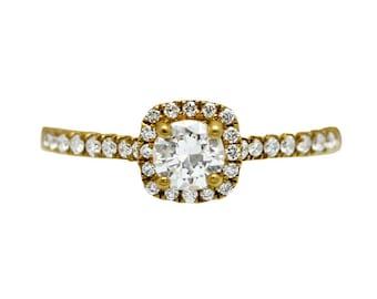 14k Yellow Gold Diamond Halo Engagement Ring