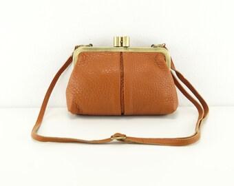 "Leather Handbag ""Small Alice"" in brown, vintage, leather bag, shoulder bag, handmade, leather purse, kiss lock"