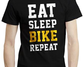 Eat Sleep Bike Repeat Biker Cyclist Cycling T shirt Tshirt Tee Gift Birthday
