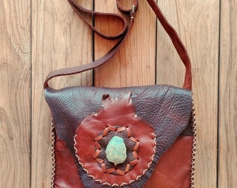 Deerskin Leather Crossbody Messenger Bag with Raw Emerald Calcite