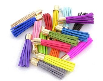 Long Tassels - 50 mm Decorative Tassels - 10 or 24 Gold Cap, Color Mix - Purse Tassel - Tassels for Jewelry - Key Chain Tassel - TL-4G01