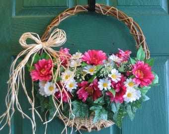 Floral Door Basket, Gerber Daisy Wreath, Daisy Door Basket, Flat Door Basket