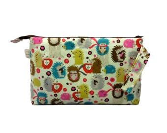 Knitting Project Bag, Hedgehog Meadow - Large, Crochet Bag, Cross Stitch, Zippered Bag