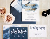 watercolor wedding invitation suite download // modern boho custom designed handwritten printable // bohemian navy and gold digital design