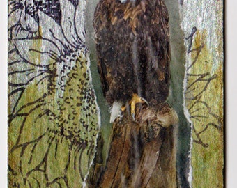 ACEO Eagle.  A mixed media collage.