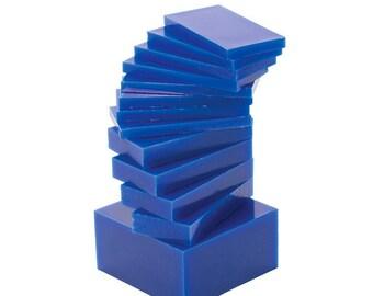 "1-1/2"" x 3-1/2"" 17 Piece Medium-Hard 1 Lb Blue Sliced Melting Wax Set for Carving Machining Block Jewelry Making Tool - WAX-332.20"