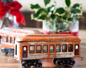 2 Vintage Toy Train Cars - Chippy Orange - Children Playroom - Industrial decor - Free Shipping Within the USA