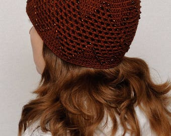 Women Laced Hat Beaded Hat Womens Hats Crochet Beanie Stretch Wool Hat Handmade beanie Lace Beanie Winter Beanie Beaded beanie Gift for Her