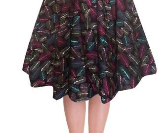 Full Circle Skirt Feather Skirt Black Skirt Swing Skirt Pin Up Skirt Rockabilly Skirt 50s Skirt Retro Skirt Party Skirt Pin Up Clothing