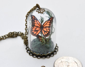 Miniature Terrarium Glass Cloche Charm Necklace | Two Tiny Monarch Butterflies | Statement necklace | 30in necklace