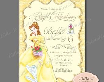 Belle Invitation. Belle Birthday Invitation. Belle Party Invitation. Princess Birthday Invitation. Princess Royal Celebration Invitation 004