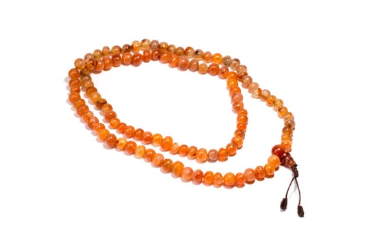 Mala Meditation Beads Carnelian 108 Mala beads  Yoga Jewellery Prayer Beads  Buddhist Free UK Delivery + Gift Bag M13