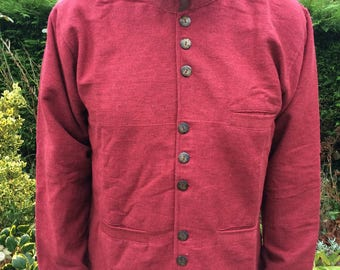 Mens Nehru Collar Jacket, Mandarin Grandad Kurta Long Style Jacket M L XL XXL, Grey Blue Red Black