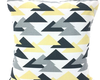 SALE Yellow Gray Pillow Covers Decorative Throw Pillow Cushions Saffron Yellow Charcoal Grey Couch Bed, Geometric One or More All Sizes