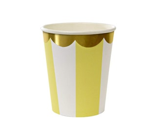 Toot Sweet Yellow Stripe Party Cups  l  Yellow Partyware  l  Yellow Paper Cups  l  Yellow Striped Cups  l  Summer Partyware  l  Yellow Party