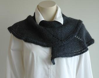 Kid mohair circular shawl / asymmetrical wrap / lightweight wool / dark navy scarf