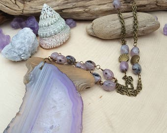 Mermaid Secrets Purple Agate Necklace - OOAK - Mermaid Jewelry - Statement Necklace - Mermaid Soul - Boho Mermaid - Pink Kiwi Jasper Beads