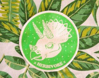 Herbivore Iron On Patch, Dinosaur Patch, Vegan Badge