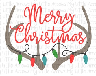 Merry Christmas antlers SVG, DXF, EPS, png Files for Cutting Machines Cameo or Cricut - christmas svg - antlers svg - antlers cut file