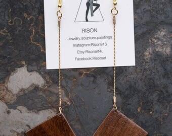 Long fan earrings, long gold wood earrings, dangle gold earrings, fan drop earrings, boho, chic, classy, hipster earrings made by Rison