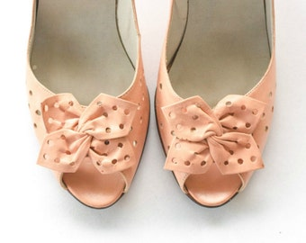 Peachy pink Italian leather peep toe heels with polka dot cut outs SIZE 7 AA