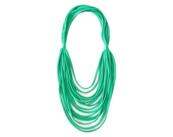 Green Emerald Necklace, Emerald T Shirt Necklace, Fabric Necklace, Multi Strand Necklace, Shiny Necklace, Long Necklace, Gift for Her