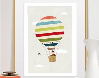 hot air balloon print, hot air balloon art, hot air balloon nursery, hot air balloon wall art, nursery wall art, nursery prints, baby boy
