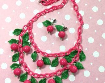 Double Strand Cherry Bib Necklace! 40s, 50s, 60s Style Bauble and Chain Necklace. Lucite, Fakelite, Bakelite, Celluloid Style