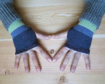 Fingerless Gloves, Fingerless Mittens, Hand Warmers, Driving Gloves, Biking Glove, Texting Glove, Upcycled, Wool, Winter Fall Accessory