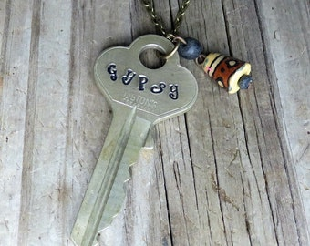 GYPSY Key Necklace – Engraved Key Necklace – Boho Jewelry – Key Jewelry – Stamped Key Necklace – Gypsy Soul – Upcycled Recycled
