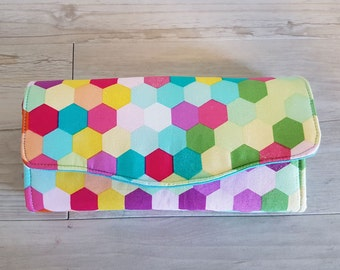 Necessary clutch wallet (NCW) Glitter Rainbow hexagon with 12 card slots and 2 zippered pockets