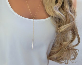 Lariat • Gold Bar Y Lariat • Holiday Gift Long Gold Bar Lariat • Simple Gold Bar Pendant • Layered Lariat • Gift for Her [512]