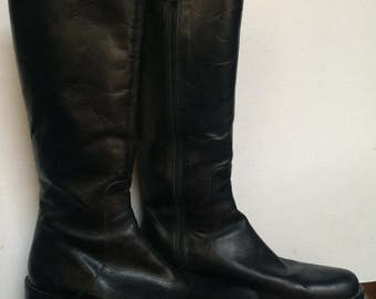 Nickels Women's Black Riding Boots - Knee High Zipper Boots - Size 9 1/2-10M - Small Calf Boots - Low Heel Boots