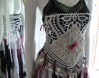 Size 00 - 4, Black red white grey pink tattered shabby chic alternate pagan renaissance faire medievil unique wedding dress