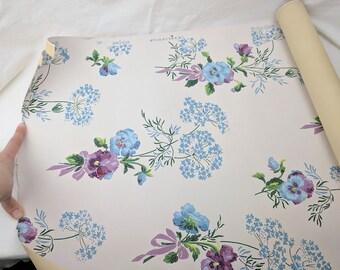 Vintage Wallpaper Roll Blue Pansy Pattern