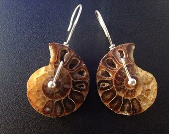 Silver and ammonite fossil earrings. New mom jewelry. Spiritual and nature jewelry