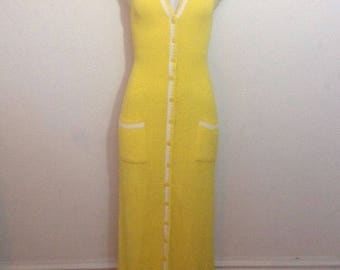 Vintage KNITS BY DON Button-Front Deep V-Neck Sleeveless Yellow Maxi Dress 70s Small / Medium