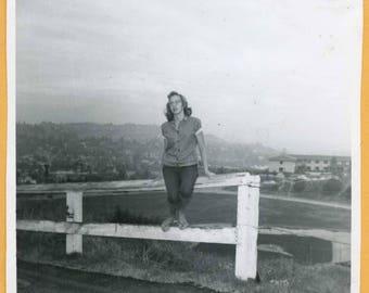 Original Vintage Snapshot Found Photo Vernacular Photo 50s Pretty Teenager Teenage Girl Sitting on Fence 1950s Fashion -C92