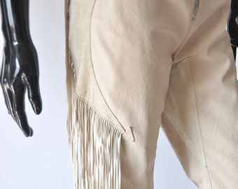Versace Tan Fringe Leather and Suede pants
