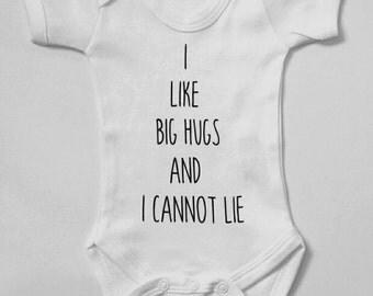 I like big hugs baby bodysuit newborn gift, Christmas baby gift, hilarious baby grow, rap baby, OliPOP!