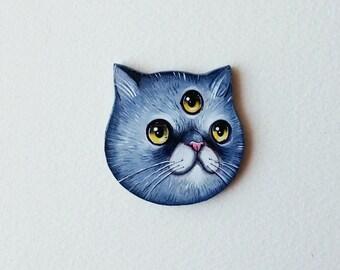 Three eyed cat hand painted brooch - wooden handmade jewelry - cat brooch