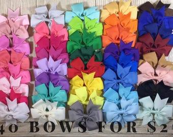 Baby girl hair bows- 3 inch pinwheel bows-40 colors bow bundle