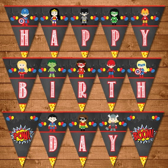 Superhero Birthday Banner Boys & Girls Chalkboard - Superhero Banner - Superheroes Party Favors - Superheroes Printables - Superhero Sign
