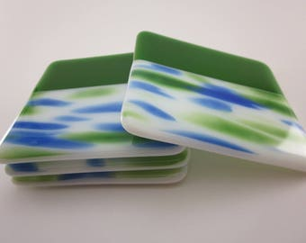 Green, White, and Blue Fused Glass Coasters
