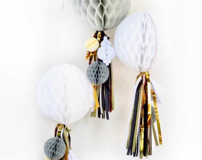 Midnight Glam Honeycomb Cluster, Tissue Honeycomb, Paper Pom Pom, Party Decor, Wedding Decor, Baby Shower, Honeycomb Tassel Decor