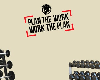 Gym Spartan Work the Plan All Sports Motivation Wall Art Decal Quote. Fitness MMA