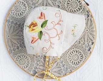 Mustard floral Vintage Bonnet