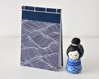 Small Japanese Notebook, hand bound, Chiyogami, waves, ocean, sea, dark blue, white, stab binding, Journal, Diary, Sketchbook, Travel Book