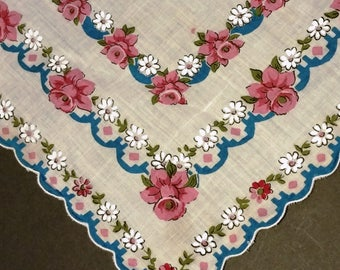 Vintage White Cotton Handkerchief with Pink & White Flowers in a Scalloped Square Pattern (#2323)